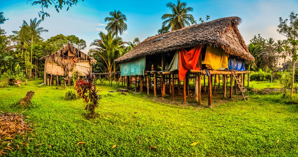 Жилые дома близ реки Сепик в Новой Гвинее