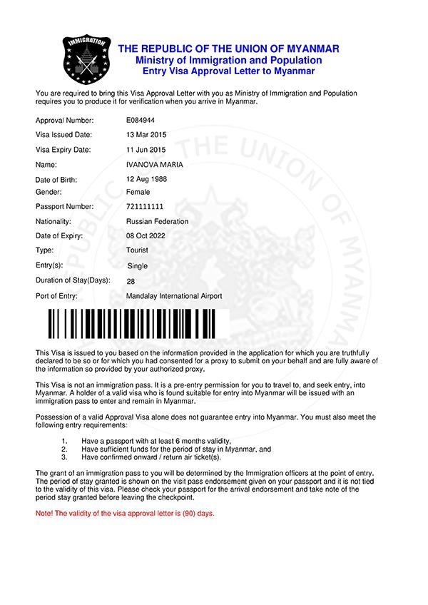 E-visa в Мьянму