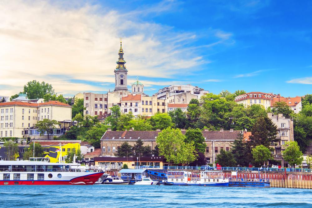 Исторический центр Белграда на берегу реки Сава