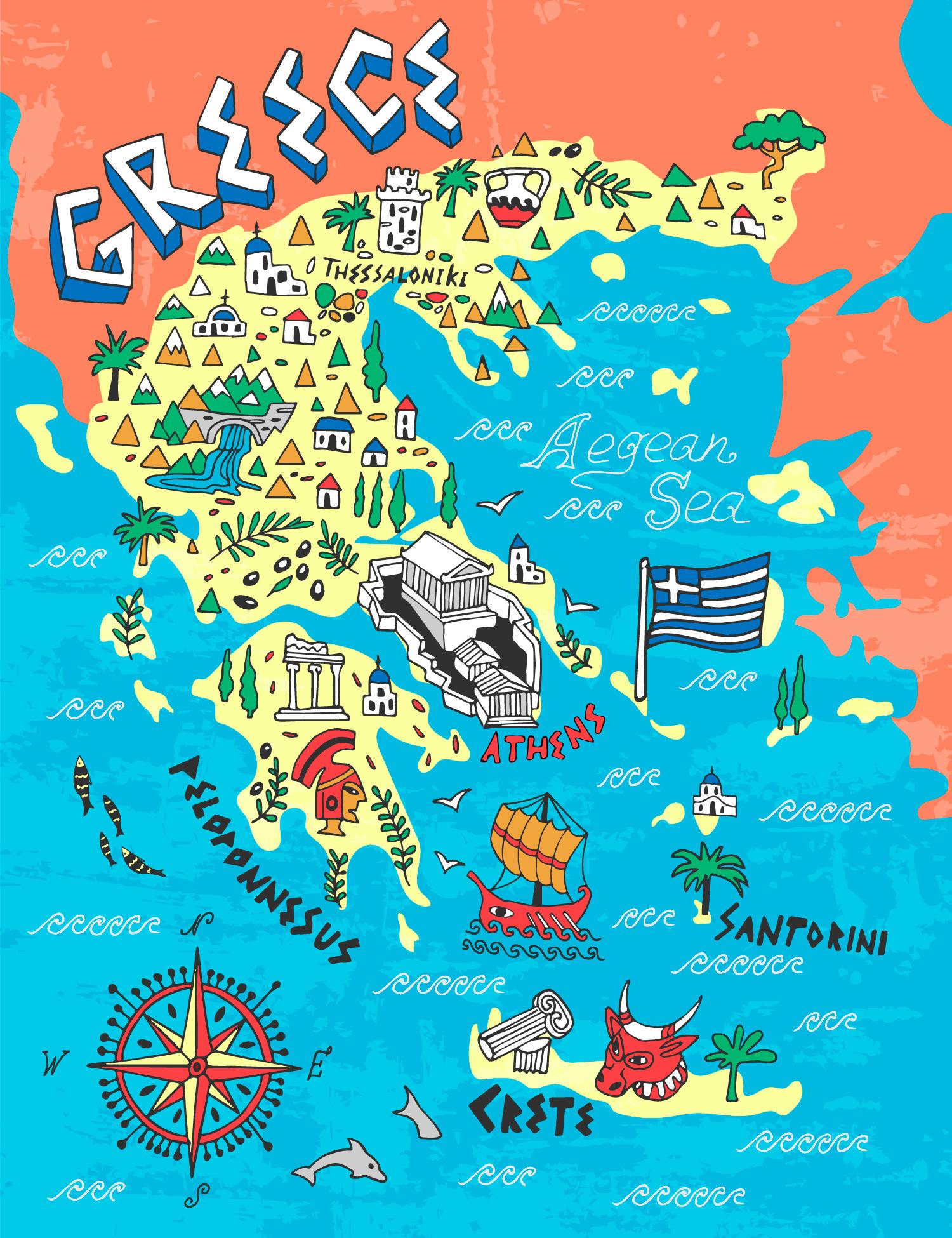 Иллюстрированная карта Греции