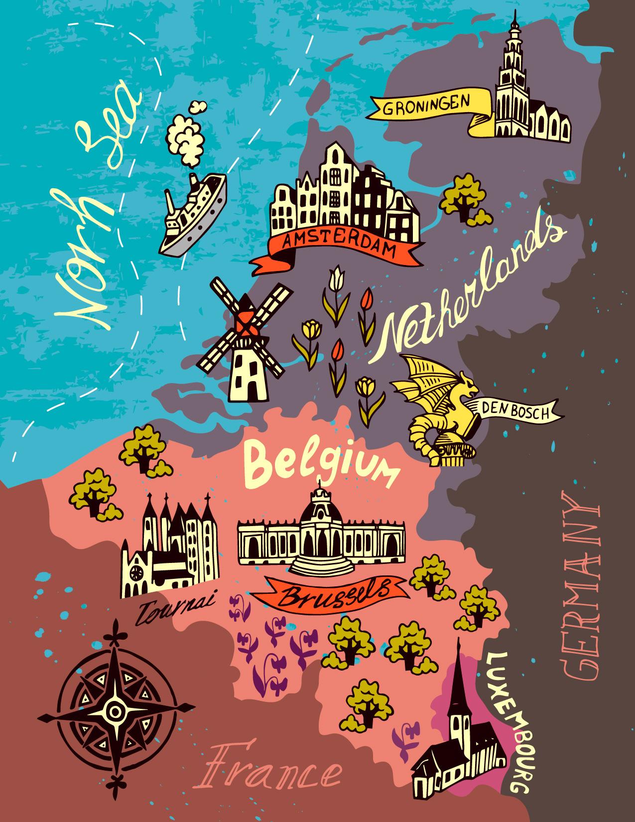 Иллюстрированная карта Бельгии