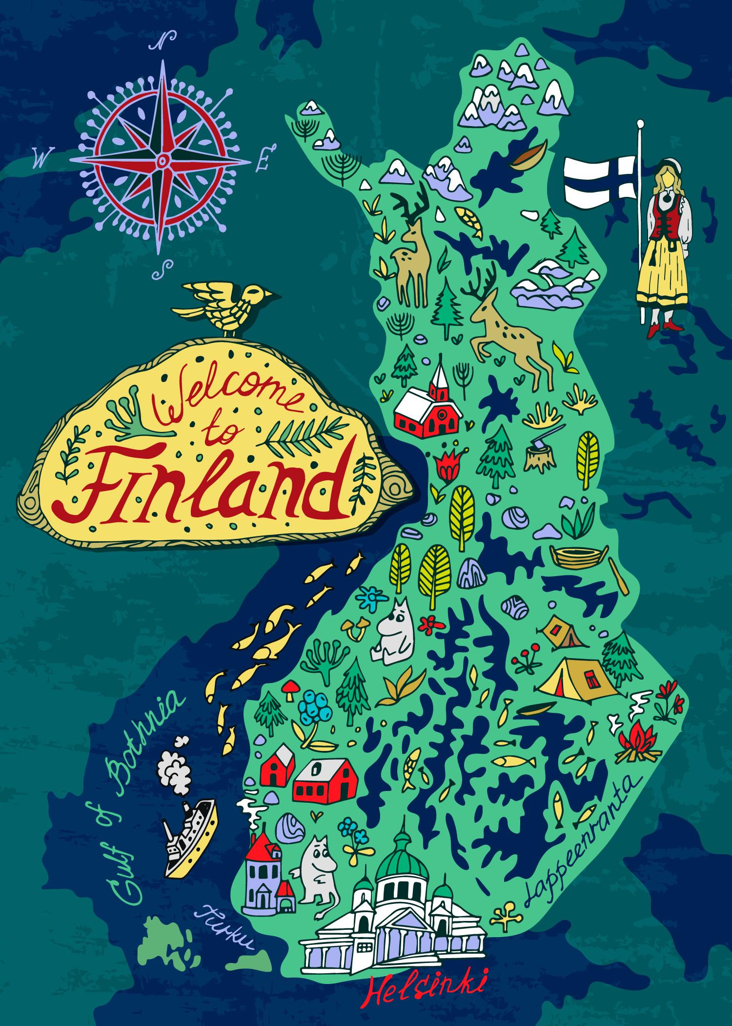 Иллюстрированная карта Финляндии