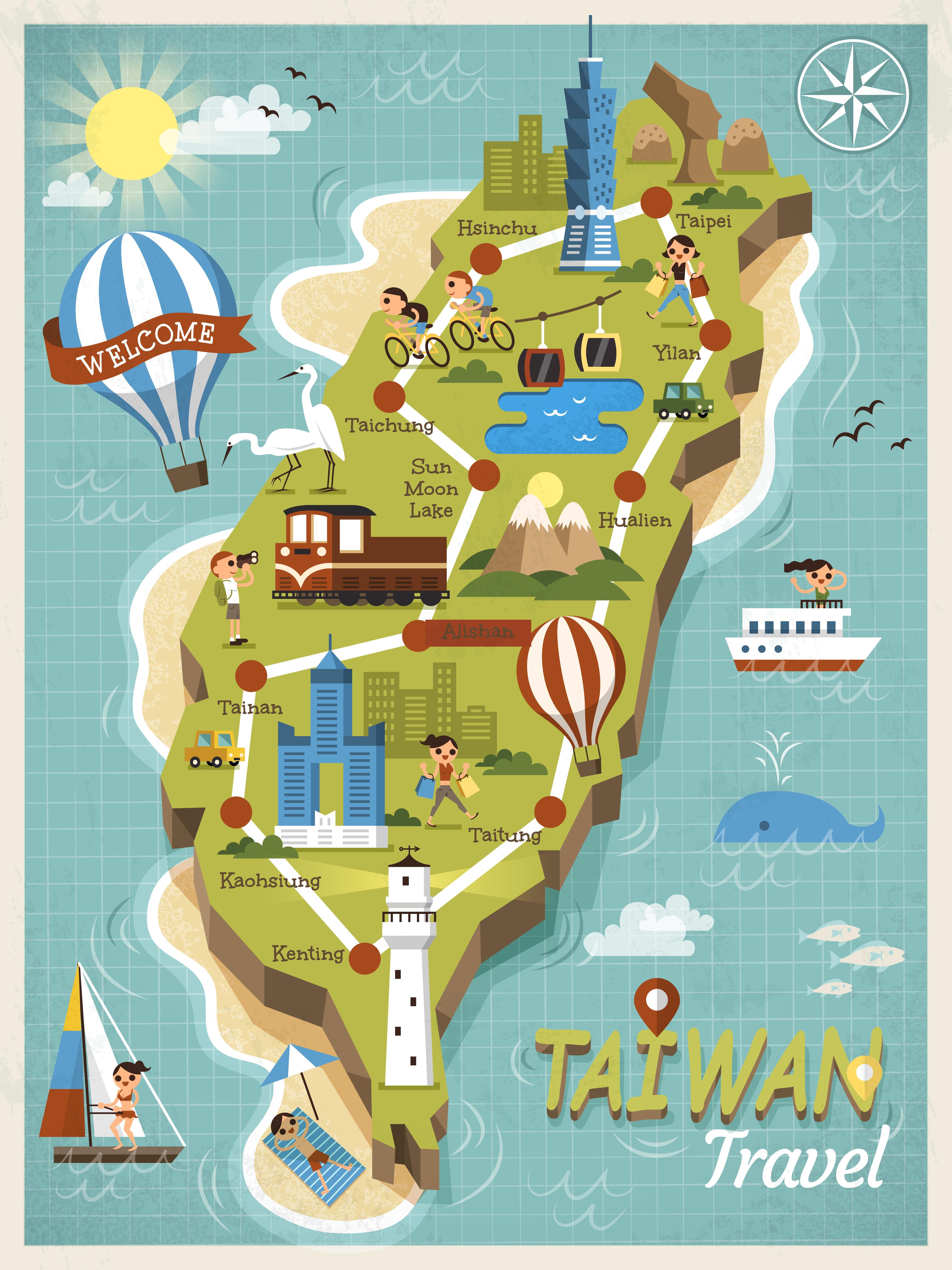 Иллюстрированная карта Тайваня