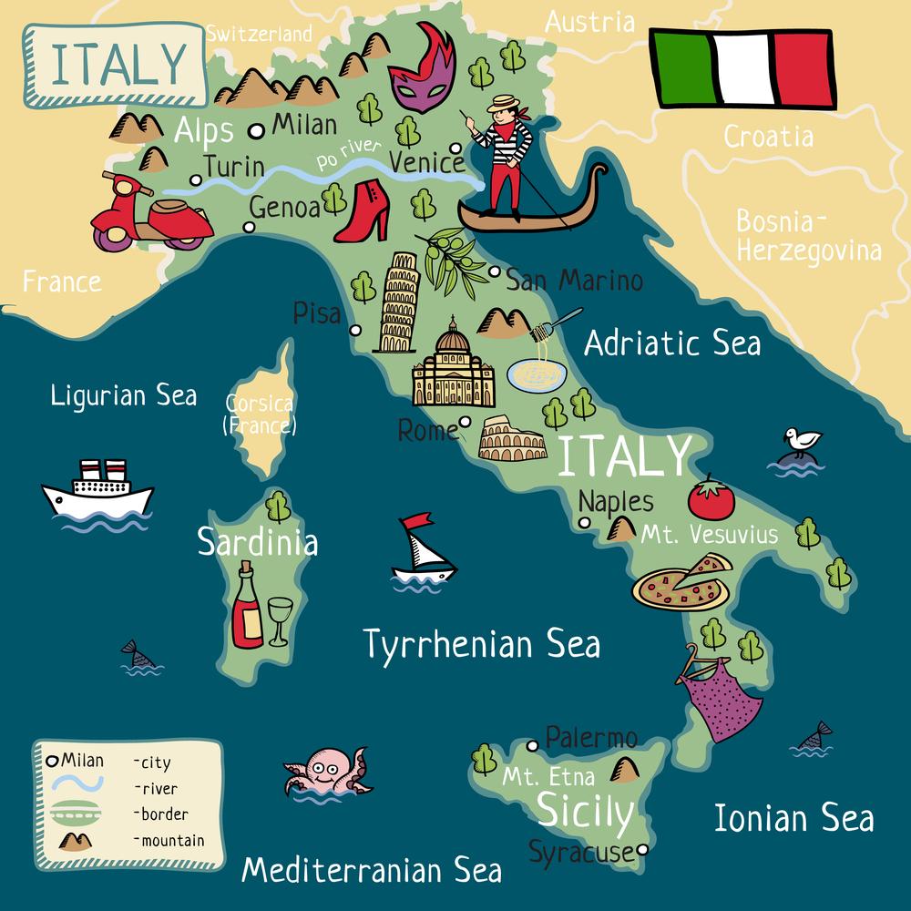 Иллюстрированная карта Италии