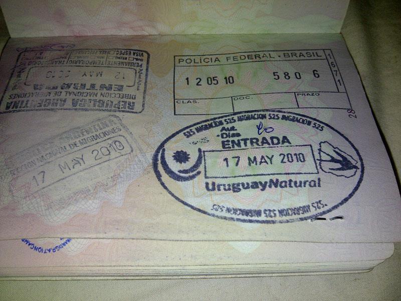 Въездной штамп в Уругвай