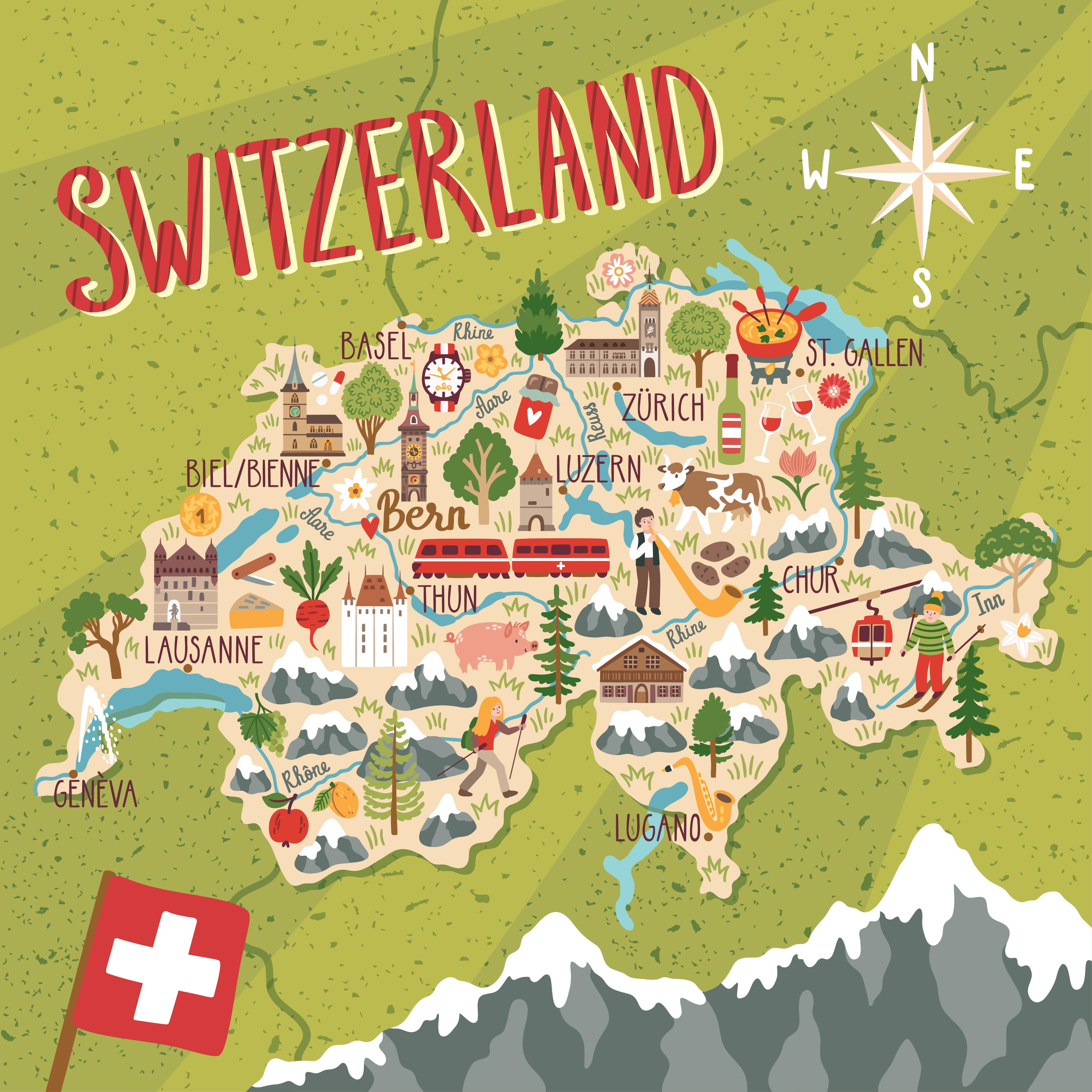 Иллюстрированная карта Швейцарии