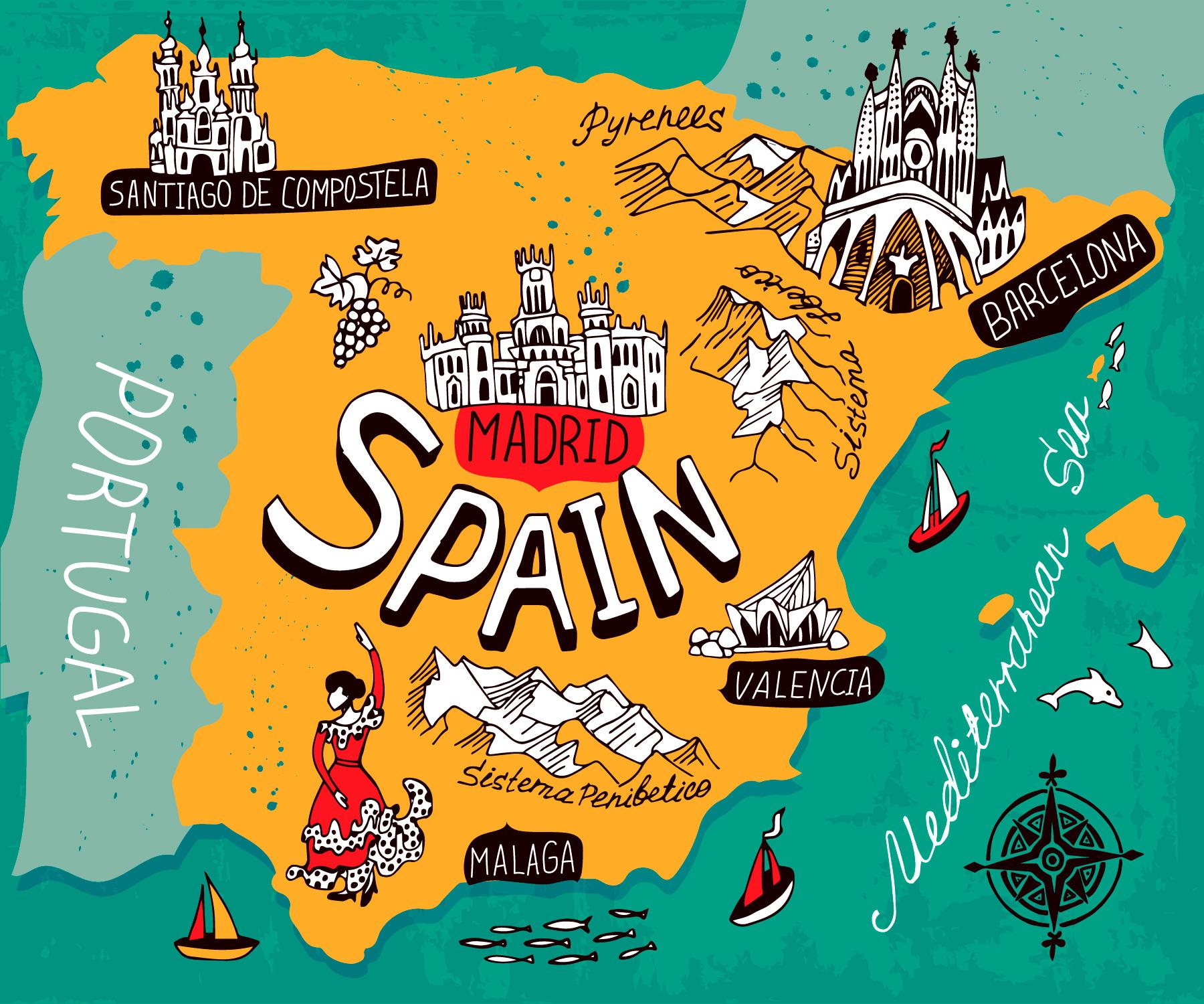 Иллюстрированная карта Испании