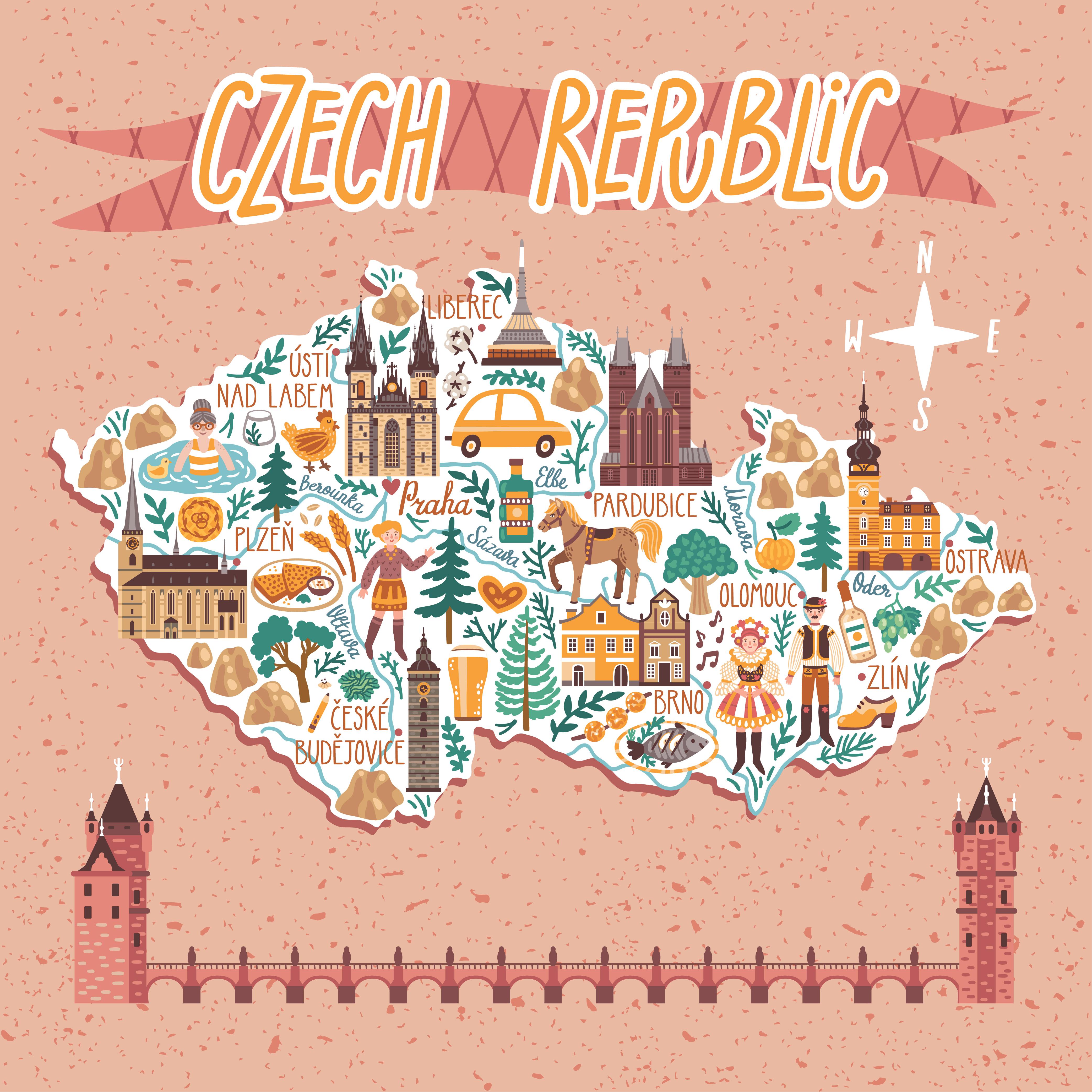Иллюстрированная карта Чехии