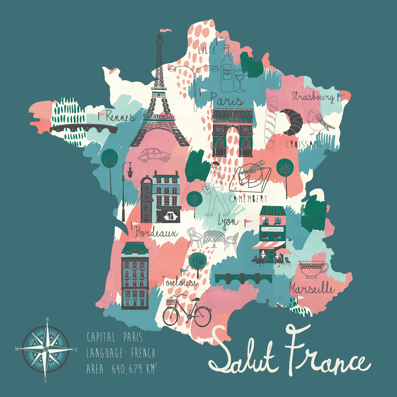 Иллюстрированная карта Франции