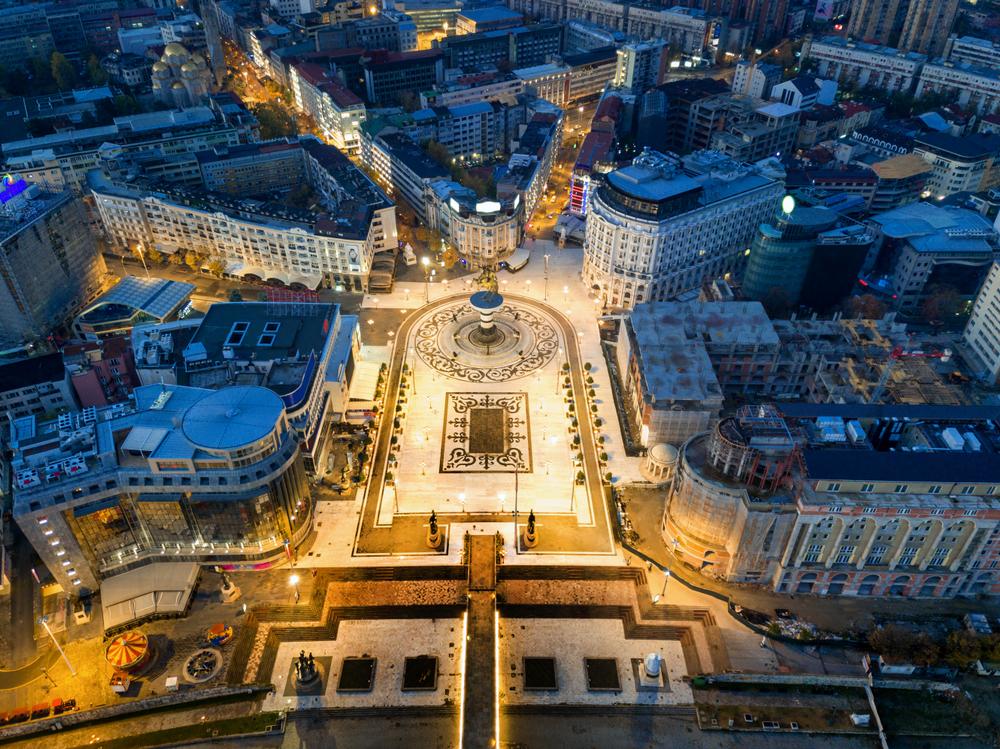 Вид на главную площадь Скопье