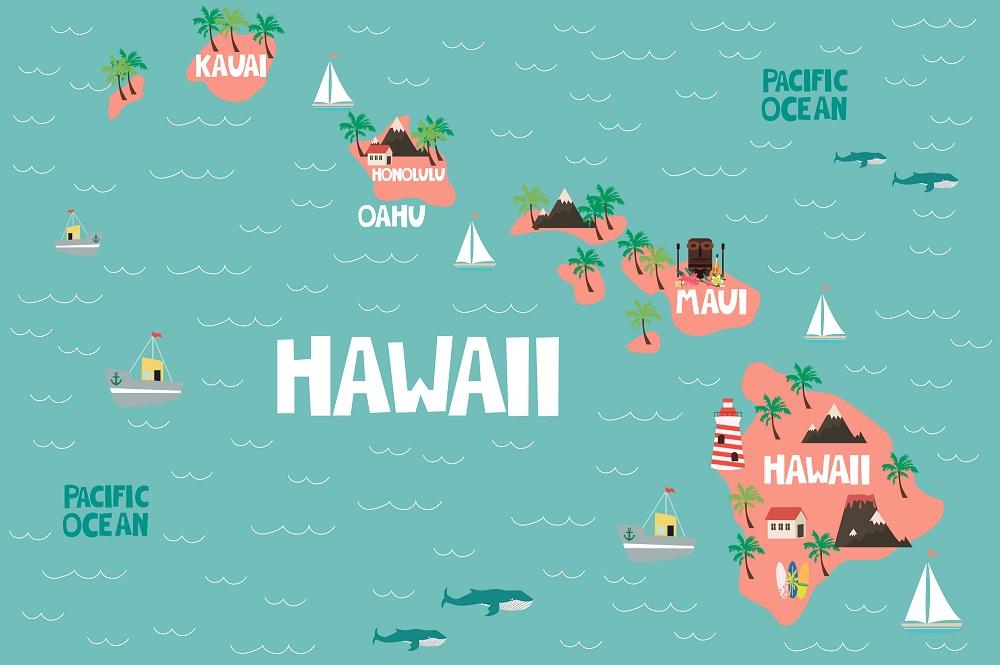Гавайи на карте