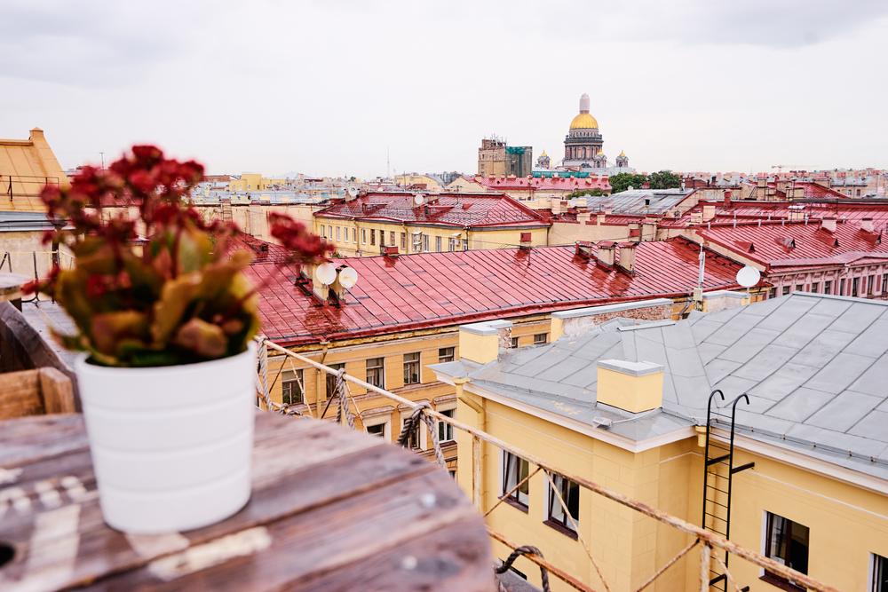 Терраса на крыше с прекрасным видом на Санкт-Петербург