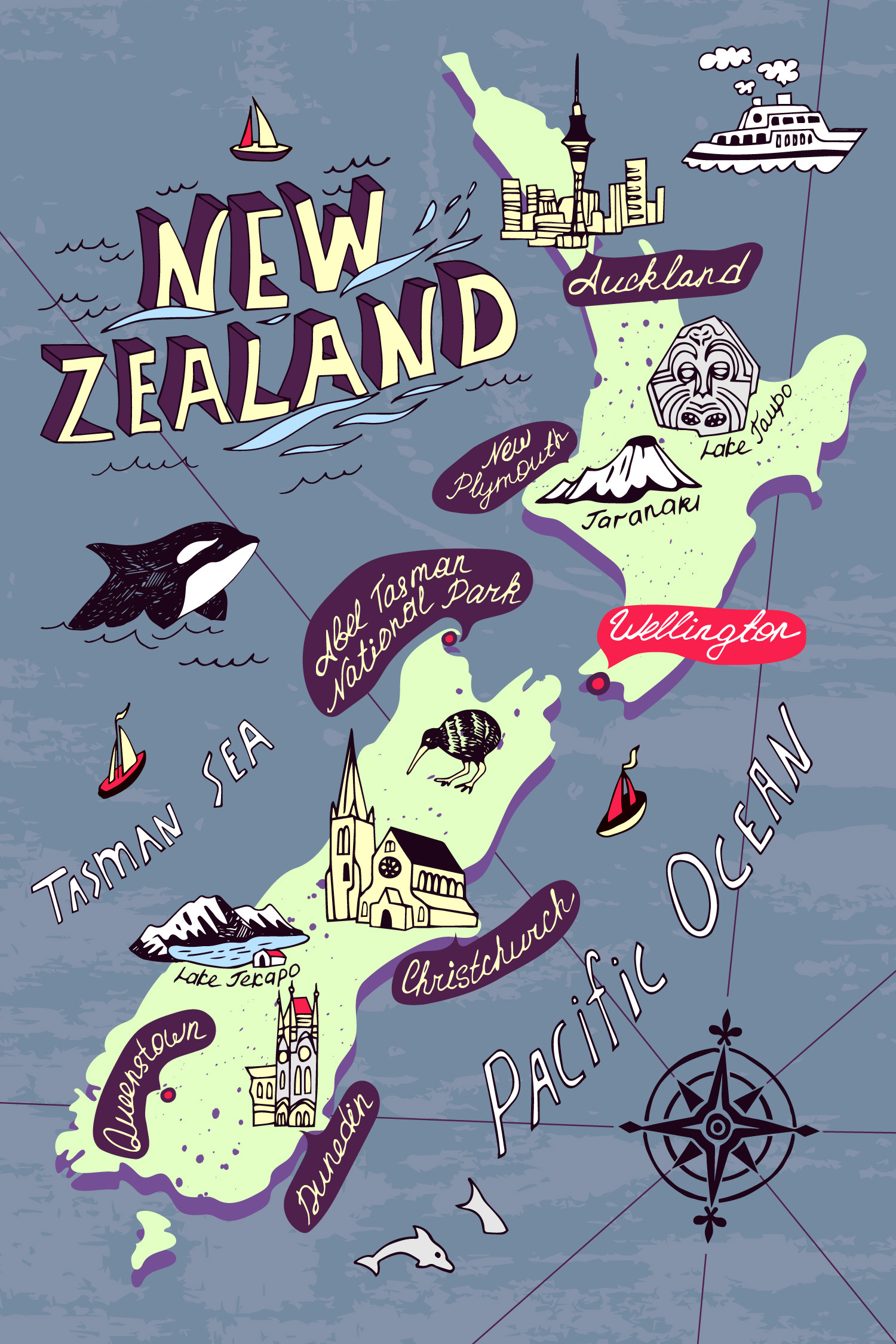 Карта Новой Зеландии
