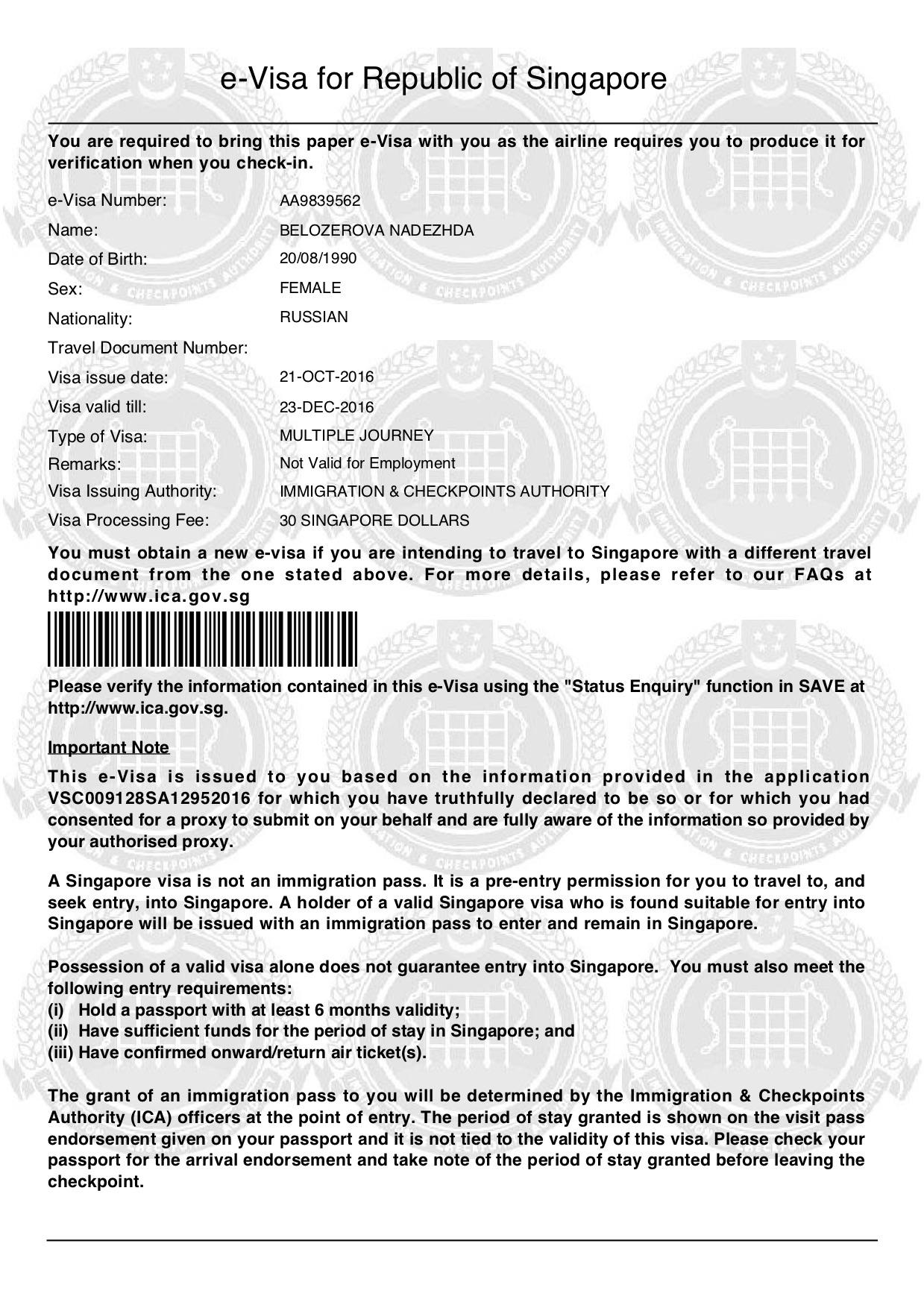 E-виза в Сингапур
