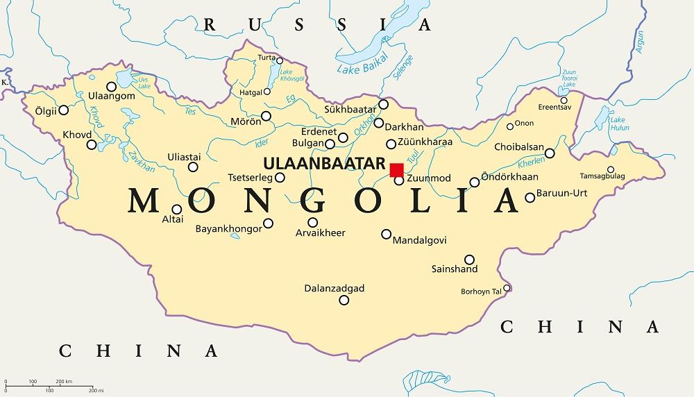 Монголия на карте