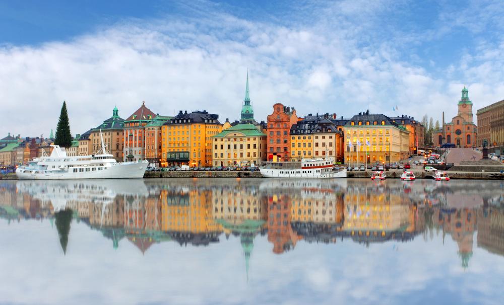Живописная панорама старого города в Стокгольме, Швеция