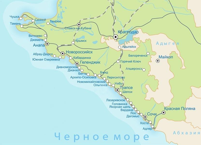 Анапа и Геленджик на карте