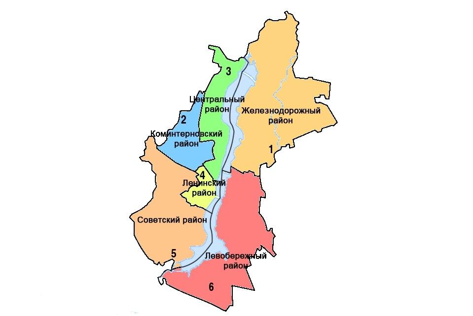 Карта Воронежа с районами