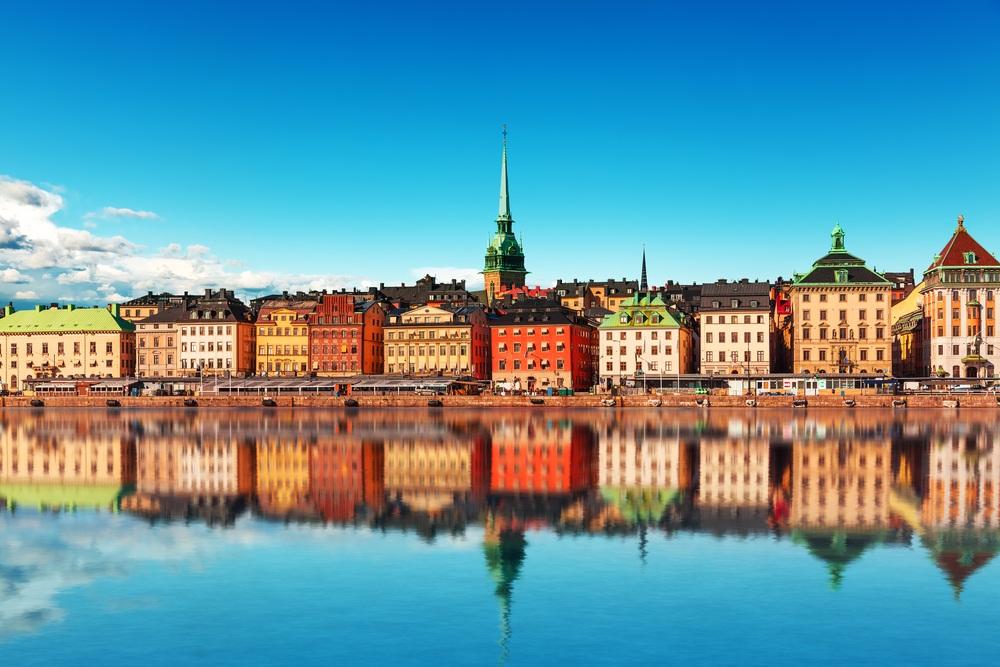 Панорама старого города. Стокгольм, Швеция