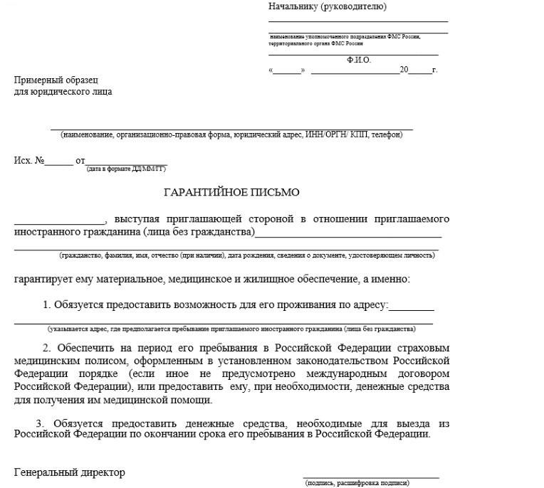 Гарантийное письмо от юридического лица