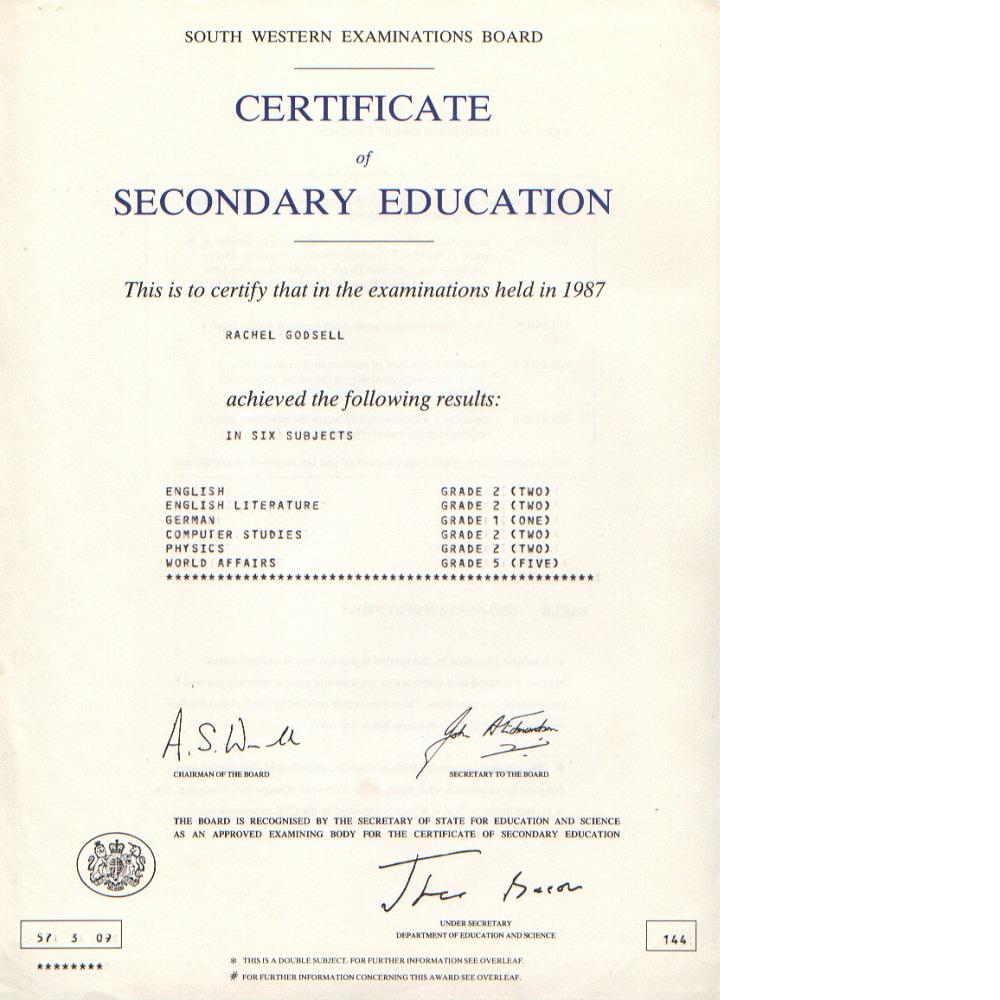 Сертификат GCSE