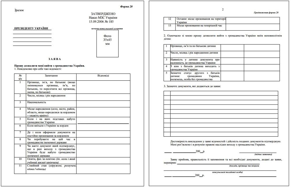 Заявление о выходе из гражданства Украины