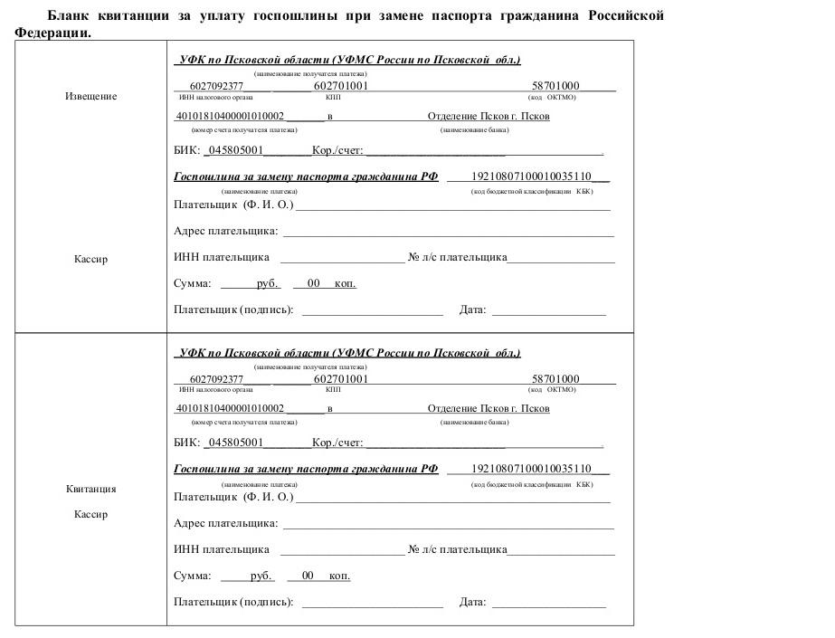 Стоимость замены паспорта РФ