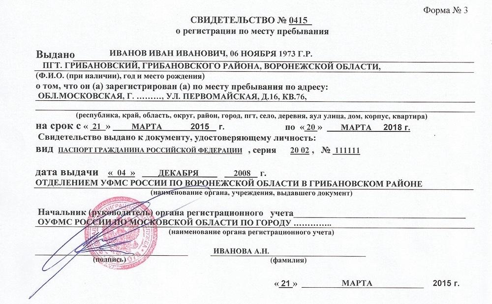 Временная регистрация граждан в РФ
