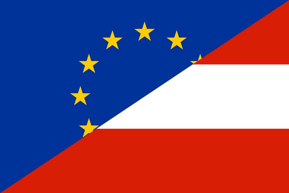 Флаг Австрии и Евросоюза