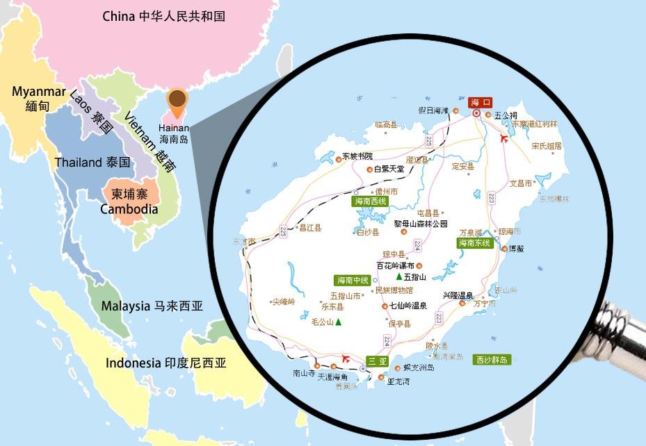 Остров Хайнань на карте
